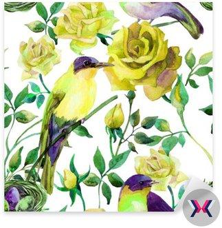 Ptaki akwarela na żółtych róż