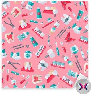 Jednolite Dentysta Wzór na różowym tle