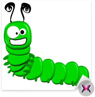 3d Cartoon Caterpillar - pojedyncze na białym