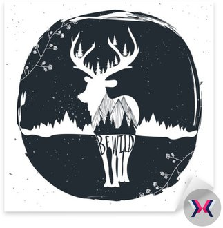 Vintage wektora ręcznie rysowane ilustracji. Bądź dziki. Typografia plakat z rustykalnym tle, jelenia sylwetka, gór i lasów