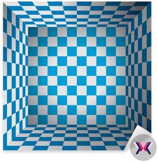 Plaid pokój, niebieski i biały komórka, 3D Chess box, Oktoberfest wektor wzór tła