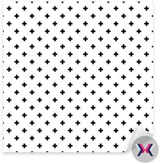 Monochromatyczny, czarno-białe abstrakcyjne krzyże bezszwowe tło wzór.