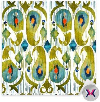 Akwarela zielone Ikat ruchliwej szwu wzór. Trendy w stylu tribal akwareli. Pióro pawia.