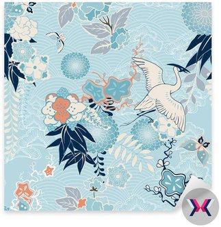 Kimono z dźwigiem w tle i kwiatami