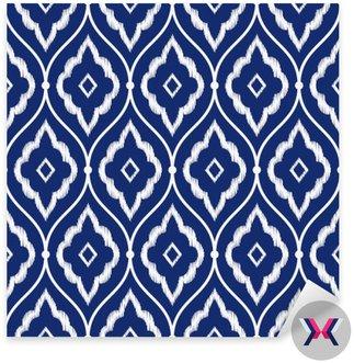 Jednolite indygo niebieski i biały rocznika wzór perski Ikat