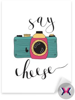 Photo camera with lettering - Say cheese. Hand drawn illustration.