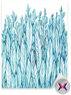 pattern of blue leaves, grass, feathers, watercolor ink drawing