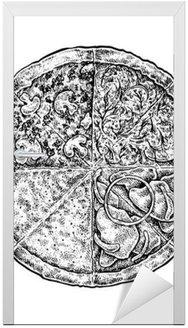 Czarno-białe archiwalne szkicowy ilustracja stylu pizzy.
