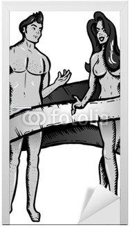 Adam i Ewa tattoo stylu ilustracji wektorowych. b & w version