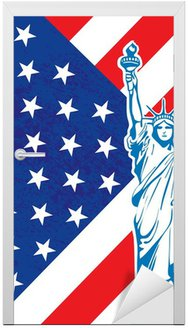 Liberty posąg i American flag