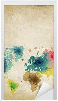 Mapa świata z farb kolorowych plam na starym papierze