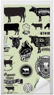 Zestaw szablonów na temat krowy wołowiny projektu