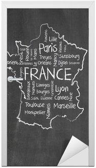 Francja mapę i wyrazy chmura z większych miast