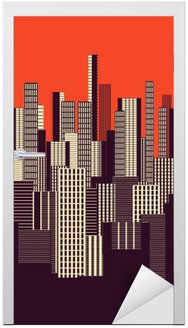 a three colors graphical abstract urban landscape poster in orange, and brown