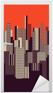 Trzy kolory graficzny plakatu streszczenie miejskiego krajobrazu w kolorze pomarańczowym i brązowym