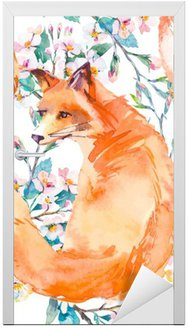 Wildlife pattern. Fox and flowering branches. .