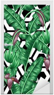 Seamless pattern with banana leaves. Decorative image of tropical foliage, flowers and fruits. Background made without clipping mask. Easy to use for backdrop, textile, wrapping paper