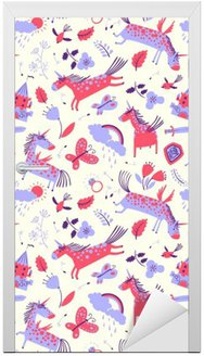 Vector cute floral seamless pattern with magic unicorns