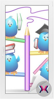 Niebieski Chicks Ptaki Powrót do szkoły-Pulcini Uccellini Blu Scuola