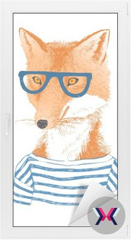 Hand drawn dressed up fox in hipster style
