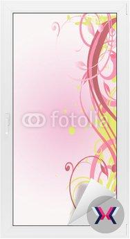 Arabeska floral rose et verte verticale
