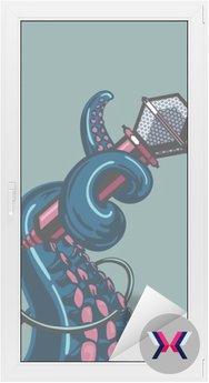 Octopus wąs trzyma mikrofon. Szablon plakatów muzycznych