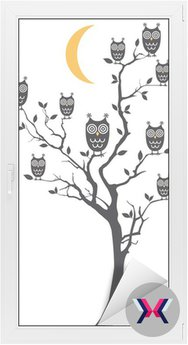 owls sitting on tree, vector