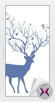 Blue Christmas jelenie, wektor