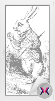 Biały królik z alice wonderland zegarka
