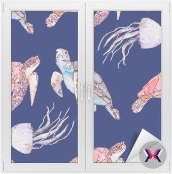 Podwodny wzór morze. Żółwie morskie i meduzy. Ocean wektor