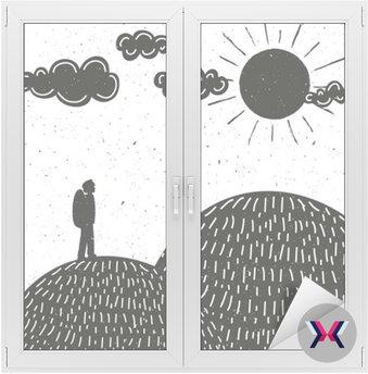Ilustracja wektorowa sylwetka człowieka, góry, chmury i słońce.