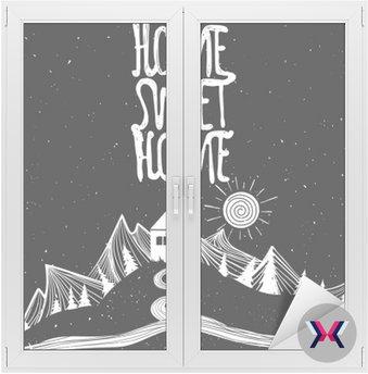 Nie ma to jak w domu. Wektor inspirujący plakat z oznaczeniem cytatu. Droga, słońce, góry, dom i drzewa.