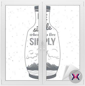 Ręcznie rysowane stylu typografii plakat z góry, cytat i butelki. Życie jest proste, gdy żyjesz prostu.