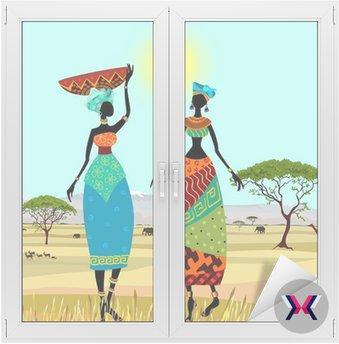 Afrykańskich kobiet w górski krajobraz