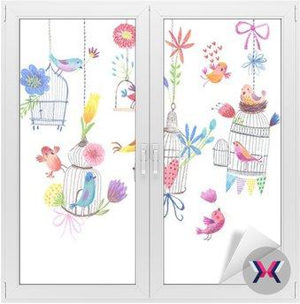Cute karty z ptaków i kwiaty malarstwa pastelowego rysunku