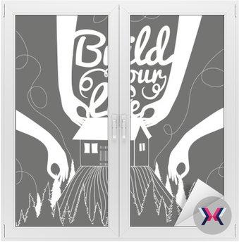 Wektor monochromatycznych ilustracji z domu, wzgórza i lasu sosnowego. Zbuduj swoje życie. Typografia hipster style trendy plakat z inspirującym cytatem.