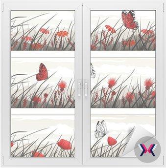 Banery graficzne z dzikich kwiatów i motyli