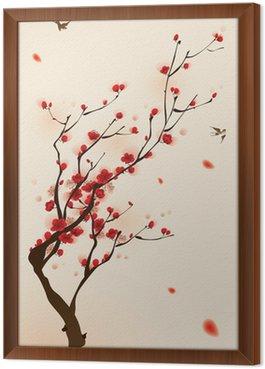 Malarstwo styl orientalny, kwiat śliwy na wiosnę