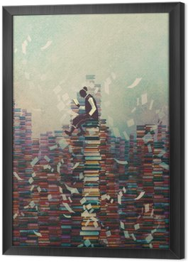 man reading book while sitting on pile of books,knowledge concept,illustration painting