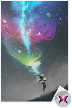 the kid opening a fantasy box with colorful light and fantastic space,illustration painting