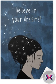 """""""believe in your dreams!"""" - hand drawn portrait of a woman with dark hair and stars"""