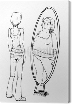 Grube, cienkie, anoreksję, lustro, anoreksja, anoreksja
