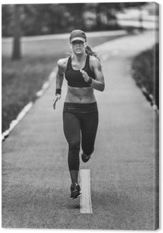 Woman jogging in black and white