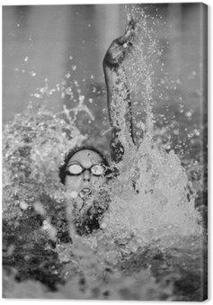 Backstroke swimming in black and white