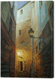 Starożytny nocy ulica w Dzielnicy Gotyckiej, illustrati