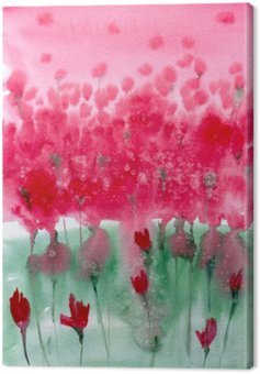 Watercolor painting. Background meadow with red flowers.
