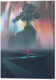 Człowiek rozpocząć podróż na krętą drogę do wielkiego drzewa na tle nocnego nieba, ilustracji