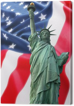 Jork Statue of Liberty przeciwko flaga USA