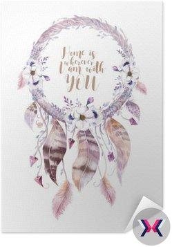 Izolowane Akwarela dekoracji artystycznej Dreamcatcher. Boho feath