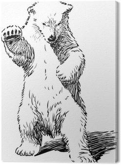 Niedźwiedź stojąc na tylnych łapach
